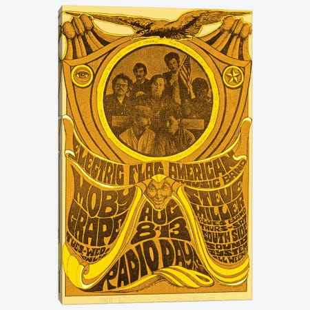 Electric Flag American Music Band, Moby Grape, Steve Miller Blues Band And South Side Sound System At The Filmore Tribute Poster Canvas Print #RAD127} by Radio Days Canvas Art