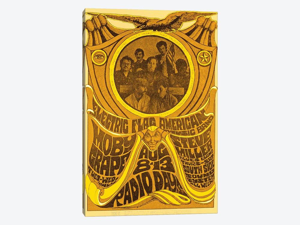 Electric Flag American Music Band, Moby Grape, Steve Miller Blues Band And South Side Sound System At The Filmore Tribute Poster by Radio Days 1-piece Art Print