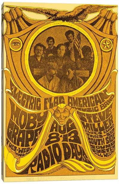 Electric Flag American Music Band, Moby Grape, Steve Miller Blues Band And South Side Sound System At The Filmore Tribute Poster Canvas Art Print
