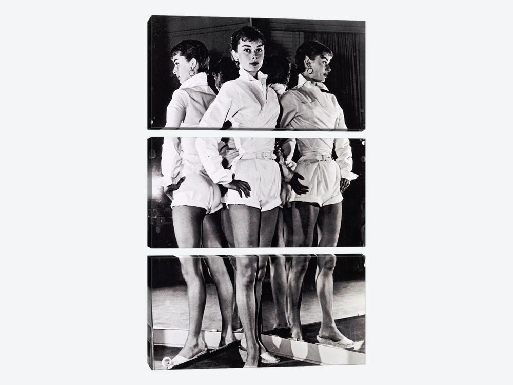 Audrey Hepburn In A White Romper by Radio Days 3-piece Canvas Art Print