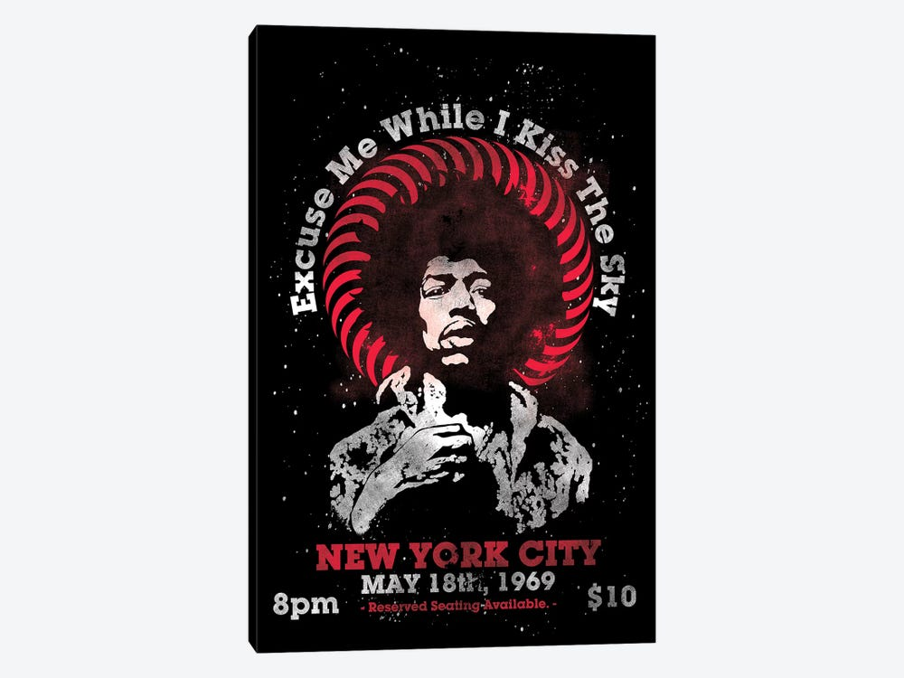 Jimi Hendrix Experience 1969 U.S. Tour At Madison Square Garden Tribute Poster by Radio Days 1-piece Canvas Art