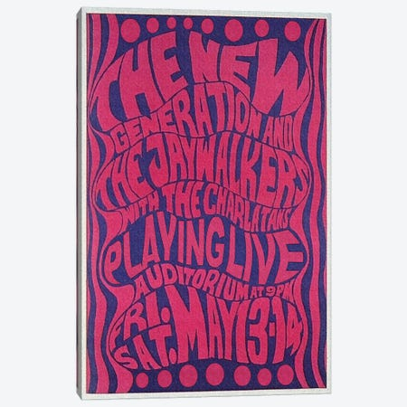The New Generation, The Jaywalkers & The Charlatans At The Fillmore Auditorium Poster, May 1966 Canvas Print #RAD137} by Radio Days Art Print