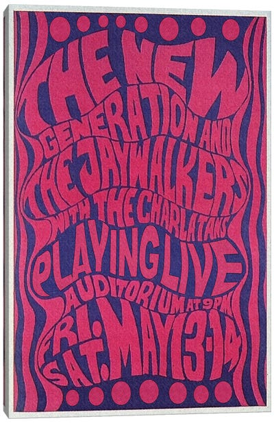 The New Generation, The Jaywalkers & The Charlatans At The Fillmore Auditorium Poster, May 1966 Canvas Art Print