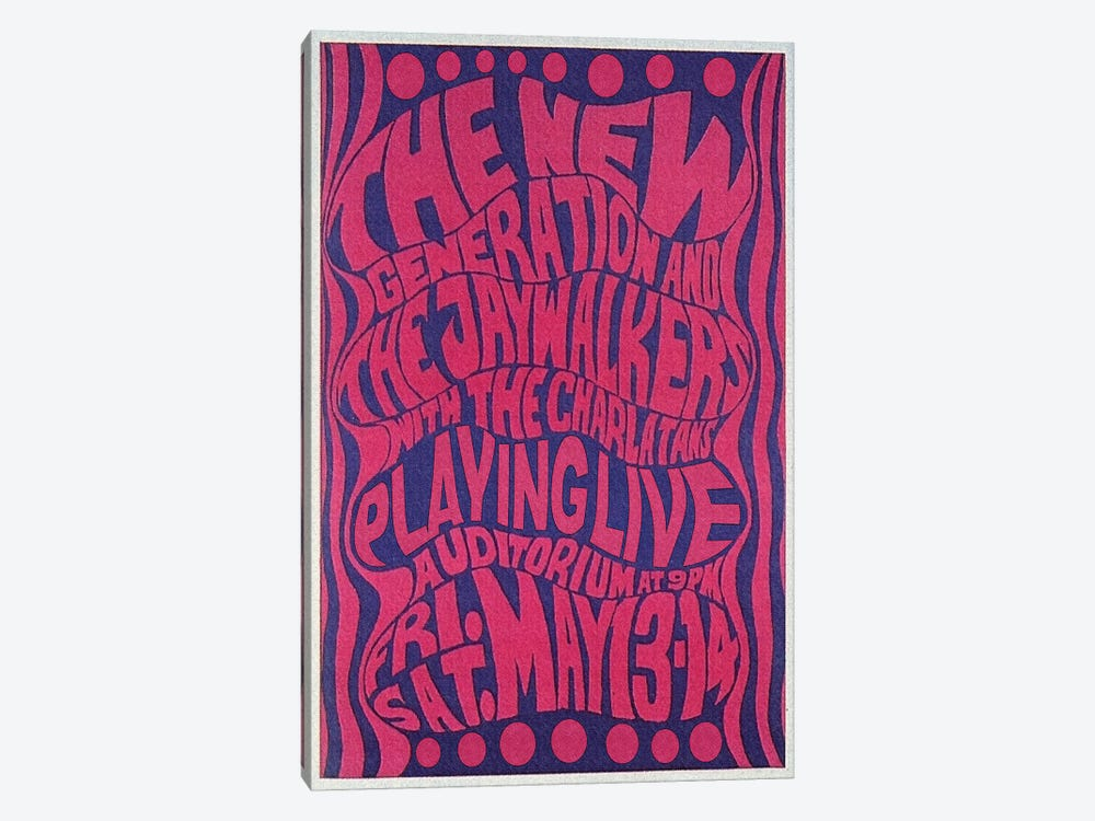 The New Generation, The Jaywalkers & The Charlatans At The Fillmore Auditorium Poster, May 1966 by Radio Days 1-piece Canvas Wall Art