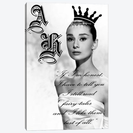 Audrey Hepburn Black And White Fairytales Canvas Print #RAD139} by Radio Days Canvas Art