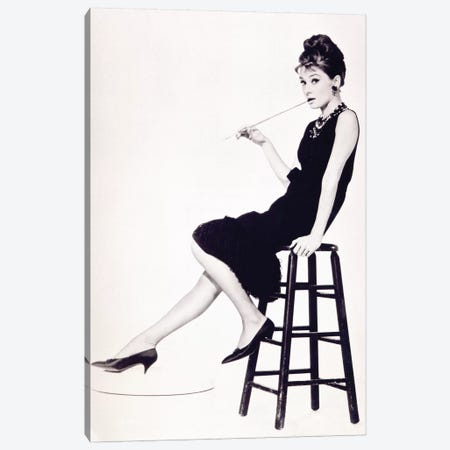 Audrey Hepburn Black And White Stool Canvas Print #RAD142} by Radio Days Art Print