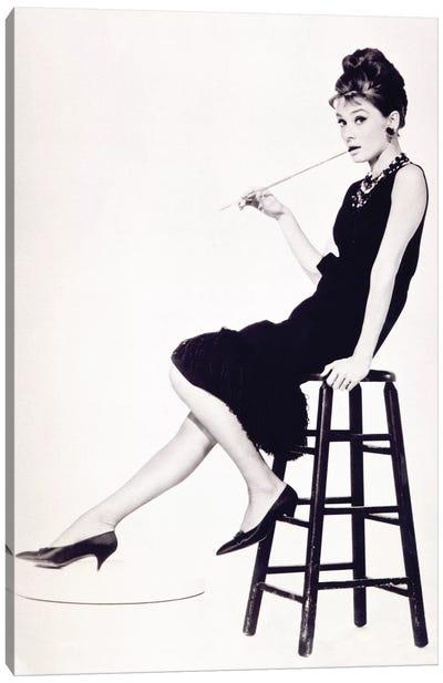 Audrey Hepburn Black And White Stool Canvas Art Print