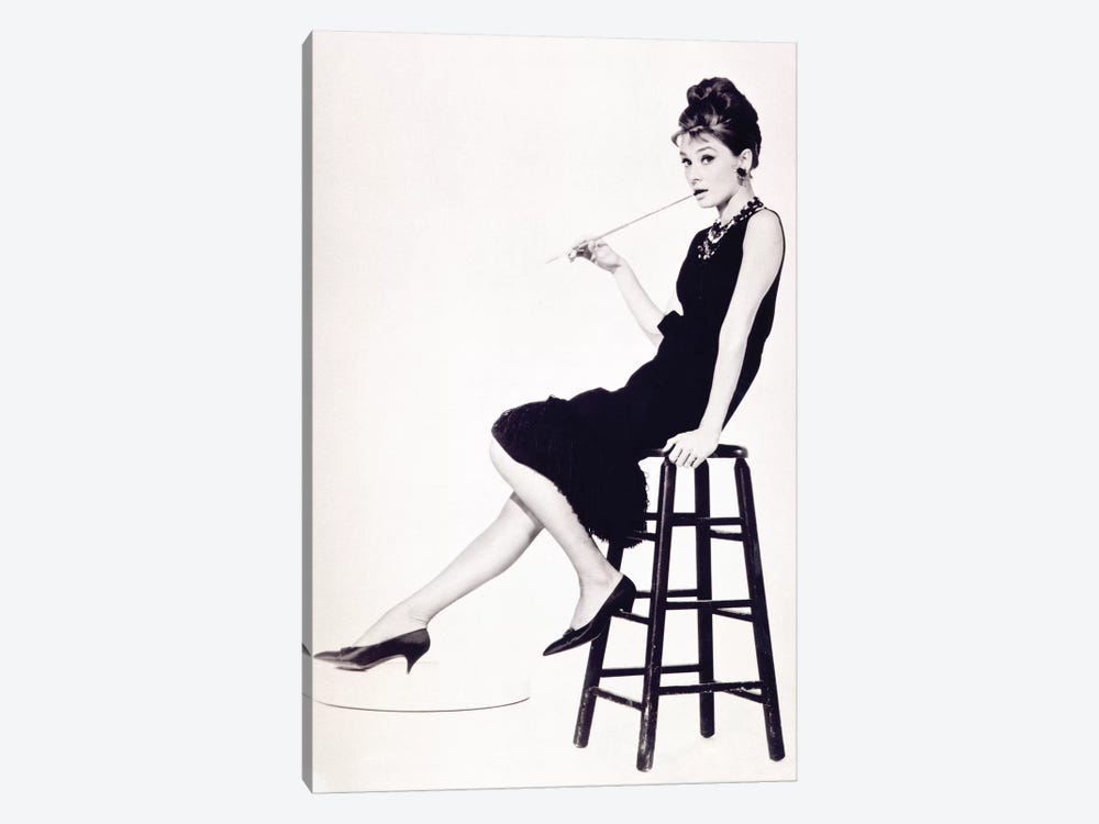 Audrey Hepburn Black And White Stool by Radio Days 1-piece Canvas Artwork