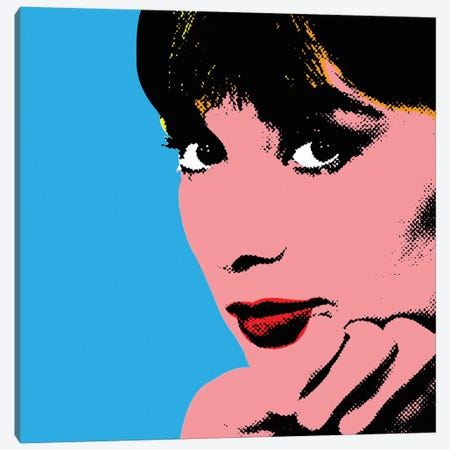 Audrey Hepburn Blue Dots Canvas Print #RAD143} by Radio Days Canvas Print