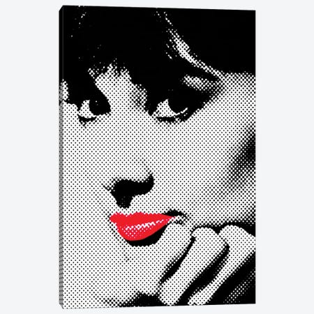 Audrey Hepburn Red Lips Canvas Print #RAD145} by Radio Days Canvas Art