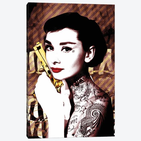 Audrey Hepburn Tatoo Gun Canvas Print #RAD146} by Radio Days Canvas Wall Art