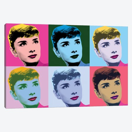 Audrey Hepburn Warhol Sabrina Canvas Print #RAD147} by Radio Days Canvas Artwork