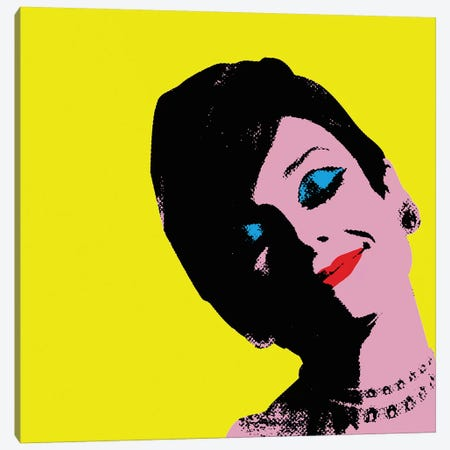 Audrey Hepburn Yellow Dots Canvas Print #RAD148} by Radio Days Canvas Art Print