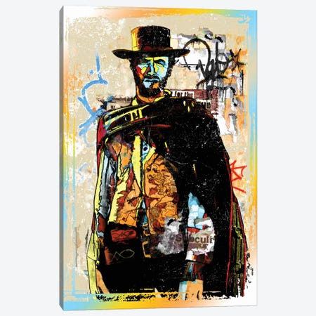 Clint Eastwood Graffiti Cowboy Canvas Print #RAD152} by Radio Days Canvas Art
