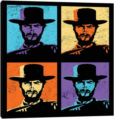 Clint Eastwood Multi Stamp Canvas Art Print