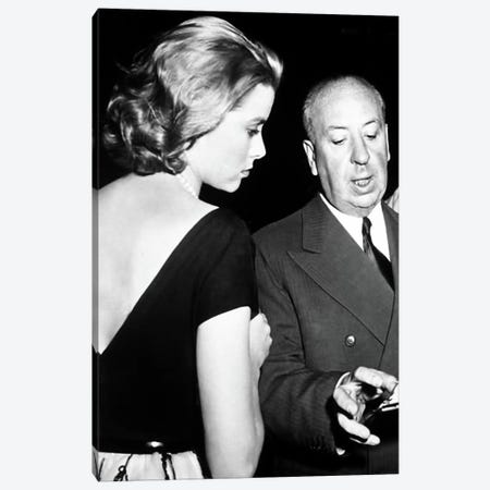 Grace Kelly Conversing With Alfred Hitchcock Canvas Print #RAD15} by Radio Days Canvas Art