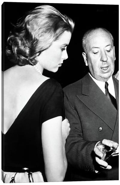 Grace Kelly Conversing With Alfred Hitchcock Canvas Print #RAD15