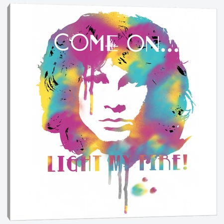 Jim Morrison Light My Fire Watercolor Canvas Print #RAD162} by Radio Days Canvas Print