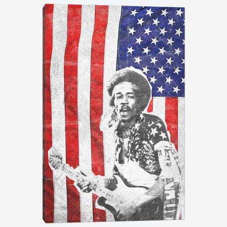 Jimi Hendrix Big Flag Canvas Print #RAD165} by Radio Days Canvas Art