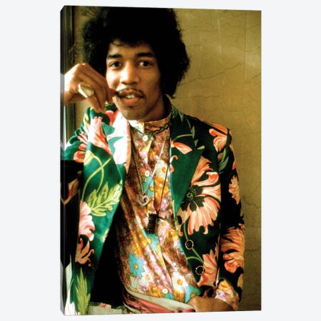 Jimi Hendrix Colored Floral Jacket I Canvas Print #RAD166} by Radio Days Canvas Artwork