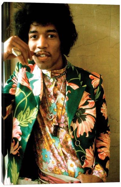 Jimi Hendrix Colored Floral Jacket I Canvas Art Print
