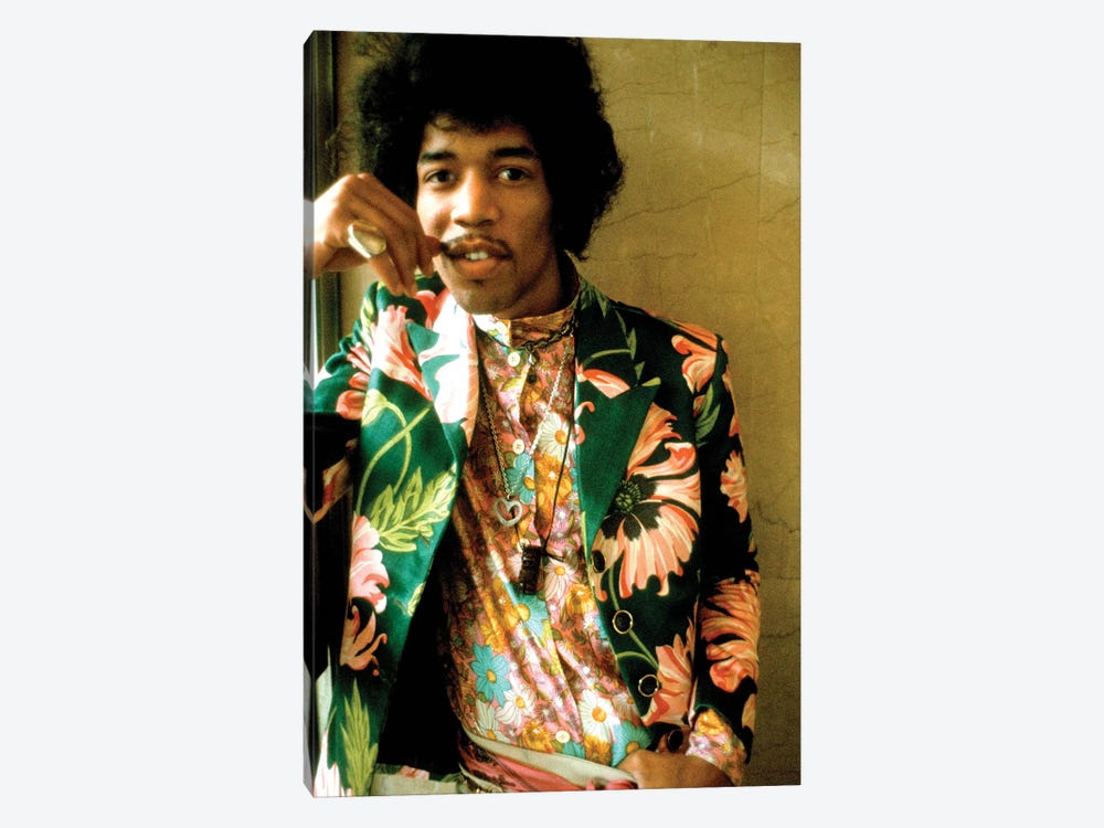 Jimi Hendrix Colored Floral Jacket I by Radio Days 1-piece Canvas Art