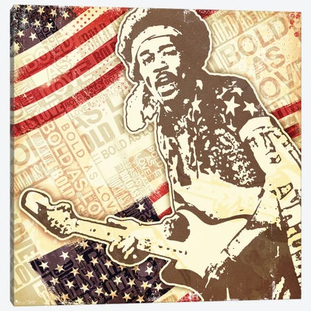 Jimi Hendrix USA Bold As Love Canvas Print #RAD167} by Radio Days Canvas Art