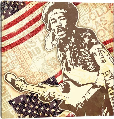 Jimi Hendrix USA Bold As Love Canvas Art Print
