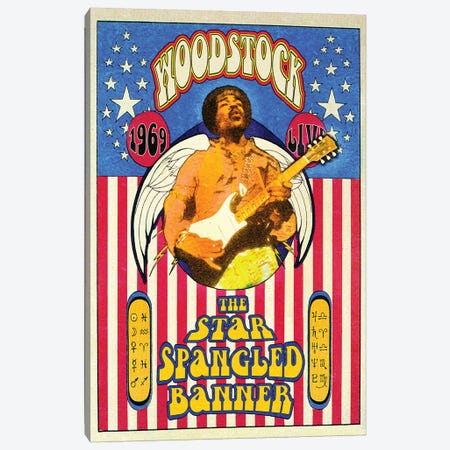 Jimi Hendrix Woodstock Star-Spangled Banner Canvas Print #RAD168} by Radio Days Canvas Print