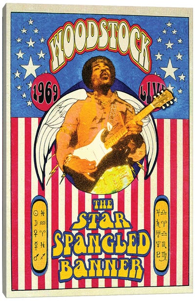 Jimi Hendrix Woodstock Star-Spangled Banner Canvas Art Print