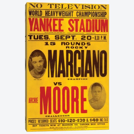 Marciano VS Moore Canvas Print #RAD171} by Radio Days Canvas Wall Art