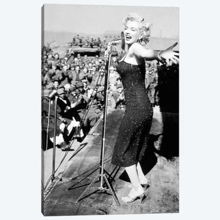 Marilyn Monroe Black And White Crowd Stopper 3 3-Piece Canvas #RAD173} by Radio Days Canvas Art