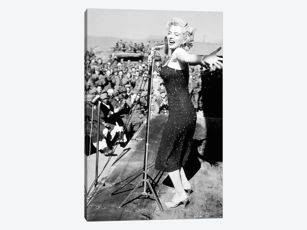 Marilyn Monroe Black And White Crowd Stopper 3 by Radio Days 1-piece Canvas Art