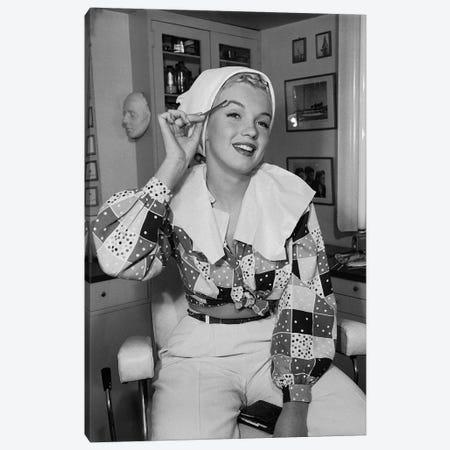 Marilyn Monroe Eye Brow Grooming Canvas Print #RAD175} by Radio Days Art Print