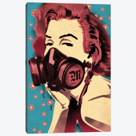 Marilyn Monroe Gas Mask Flower Canvas Print #RAD176} by Radio Days Canvas Art Print