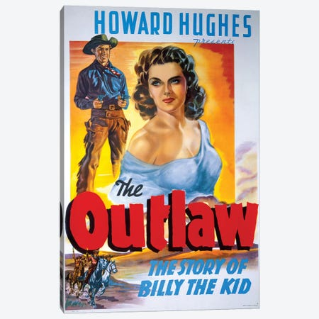The Outlaw Film Poster Canvas Print #RAD22} by Radio Days Canvas Art