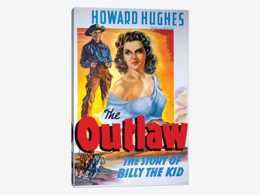 The Outlaw Film Poster by Radio Days 1-piece Canvas Wall Art