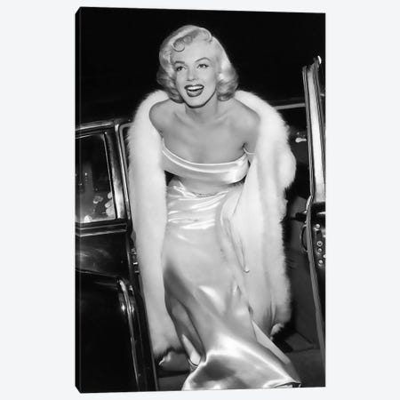 Marilyn Monroe Stepping Out Of Limousine Canvas Print #RAD25} by Radio Days Canvas Print