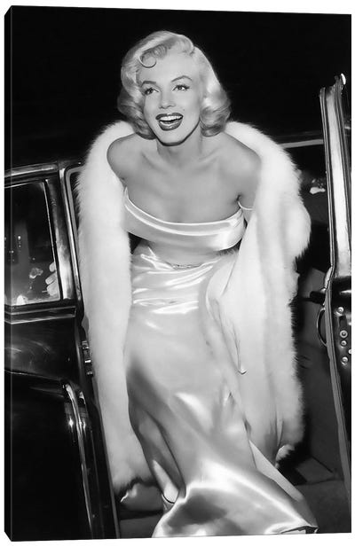 Marily Monrow Stepping Out Of Limousine Canvas Art Print