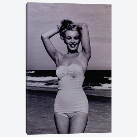 A Young Marilyn Monroe At The Beach Canvas Print #RAD26} by Radio Days Canvas Print