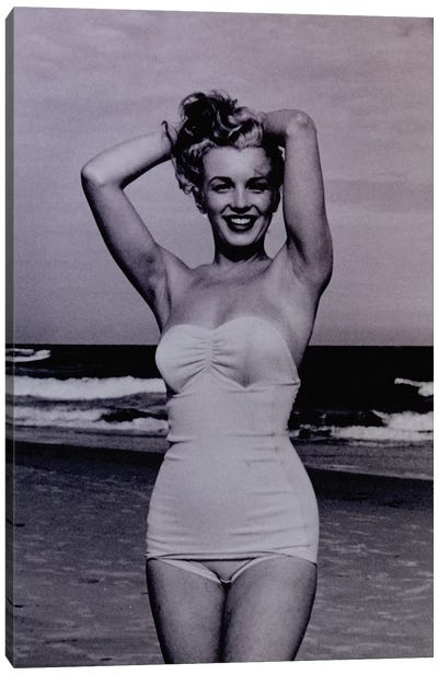 A Young Marilyn Monroe At The Beach Canvas Art Print