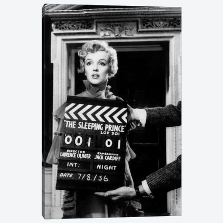 Marilyn Monroe On The Set Of The Sleeping Prince Canvas Print #RAD29} by Radio Days Canvas Artwork