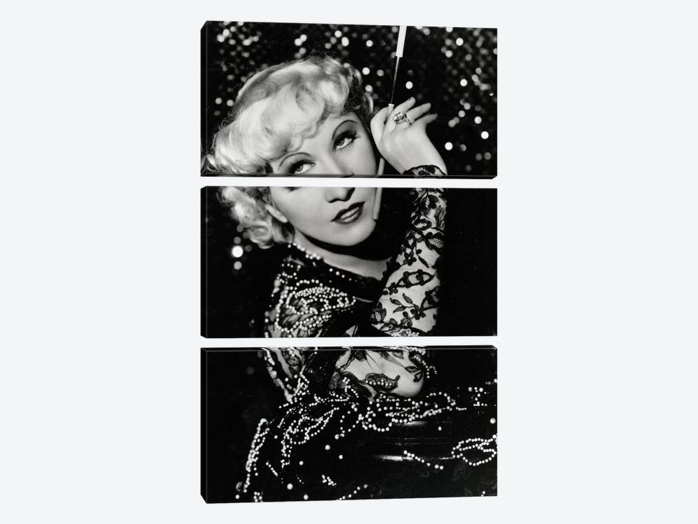 Mae West Over The Shoulder Pose by Radio Days 3-piece Canvas Art Print