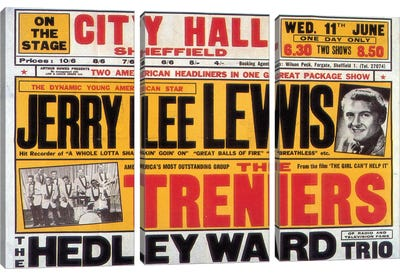 Sheffield City Hall Concert Poster (Jerry Lee Lewis, The Treniers & The Hedley Ward Trio) Canvas Art Print