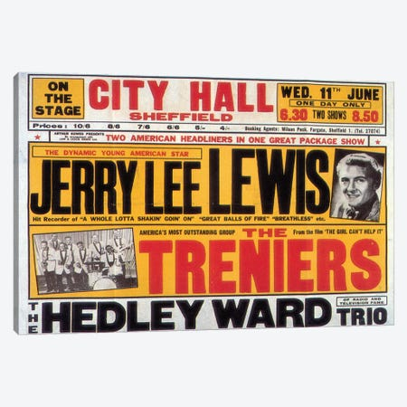 Sheffield City Hall Concert Poster (Jerry Lee Lewis, The Treniers & The Hedley Ward Trio) Canvas Print #RAD34} by Radio Days Canvas Wall Art