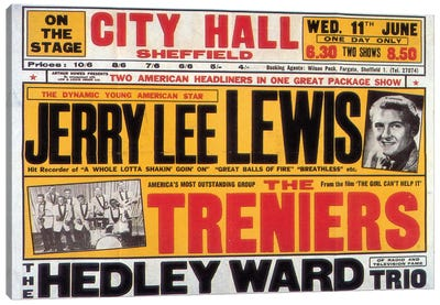 Sheffield City Hall Concert Poster (Jerry Lee Lewis, The Treniers & The Hedley Ward Trio) Canvas Print #RAD34