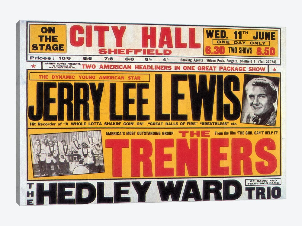 Sheffield City Hall Concert Poster (Jerry Lee Lewis, The Treniers & The Hedley Ward Trio) by Radio Days 1-piece Canvas Art Print