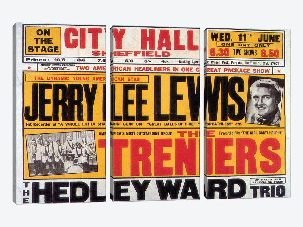 Sheffield City Hall Concert Poster (Jerry Lee Lewis, The Treniers & The Hedley Ward Trio) by Radio Days 3-piece Art Print