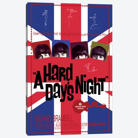 A Hard Day's Night Film Poster (Union Jack Background) Canvas Print #RAD36} by Radio Days Canvas Art