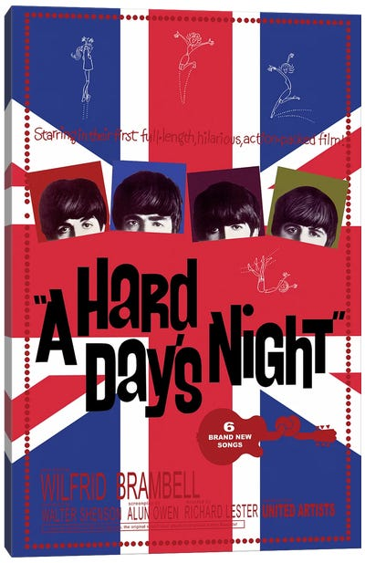 A Hard Day's Night Film Poster (Union Jack Background) Canvas Art Print